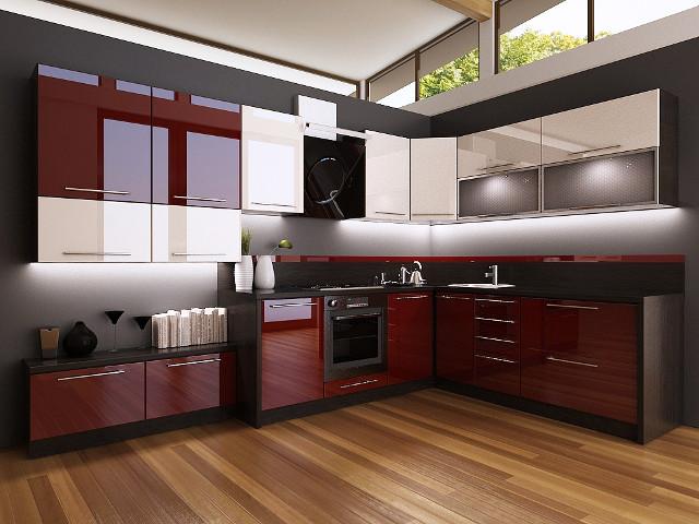 Дизайн  кухни с белым верхом и бордовым низом