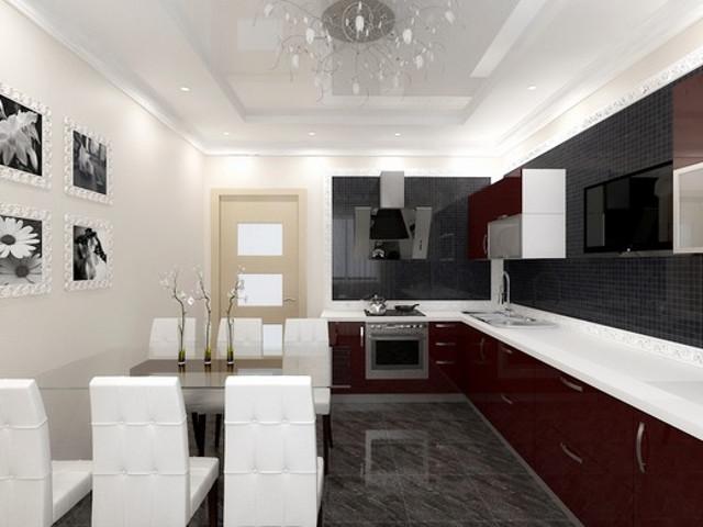 Бордовая кухня в сочетании с бежевыми стенами и черным фартуком