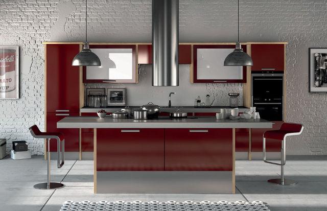 Серо-бордовый кухонный гарнитур