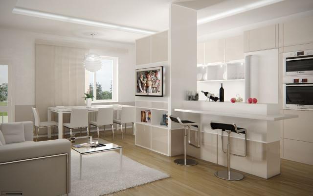 Дизайн кухни, совмещенной с гостиной в стиле хай-тек
