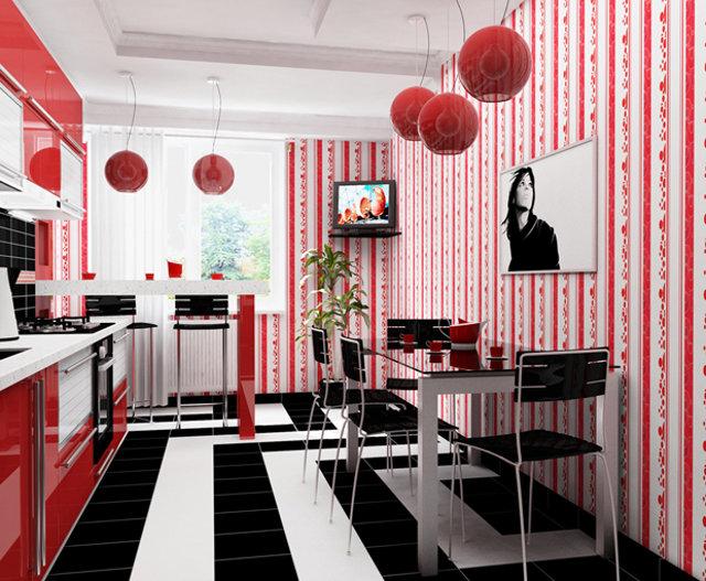 Яркий интерьер с красной кухней