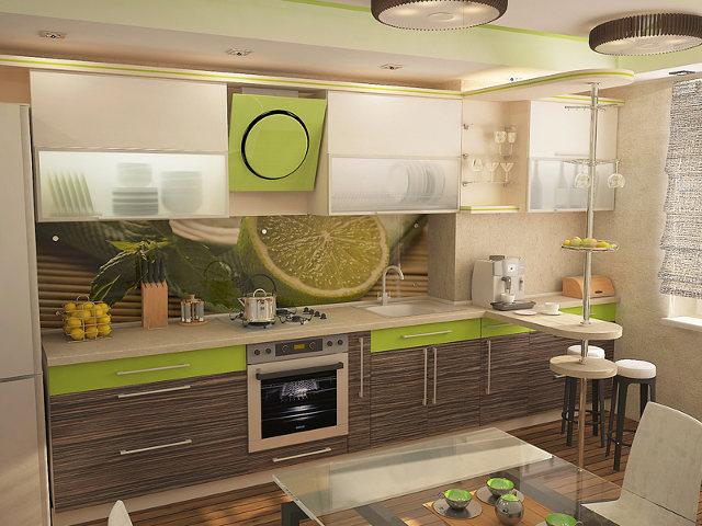 Современная угловая кухня с сочетанием зебрано, белого и салатового цветов