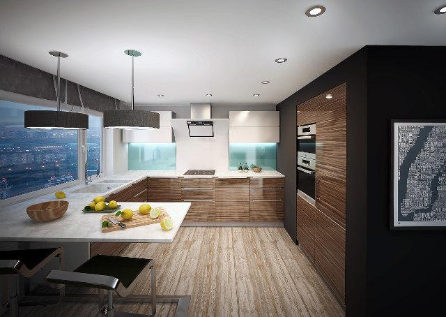 Интерьер просторной кухни с гарнитуром цвета зебрано