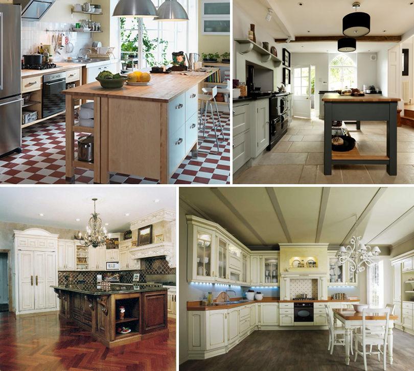 Пол на кухне в кантри-стиле