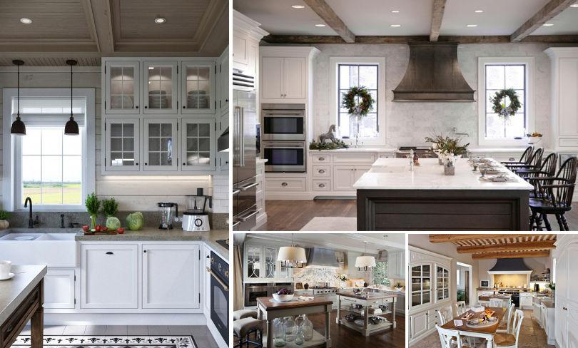 Примеры отделки потолка на кухне Прованс