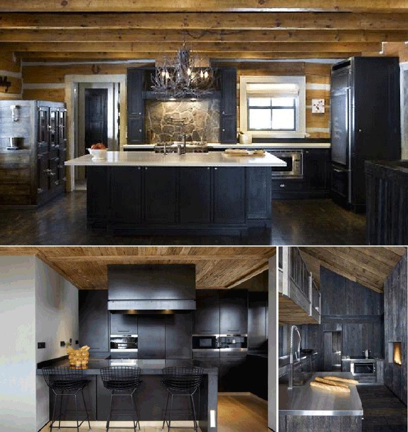 Кухня-шале в темной цветовой гамме