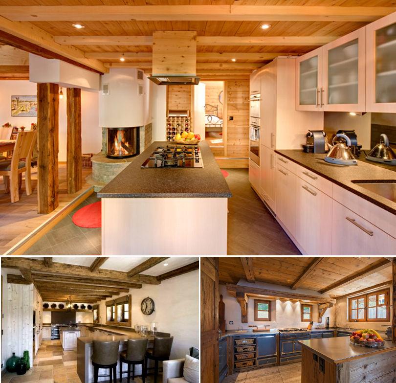Кухня шале в светлой цветовой гамме