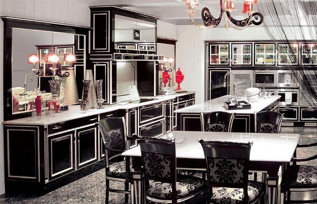Черно-белая кухня арт-деко с красными акцентами