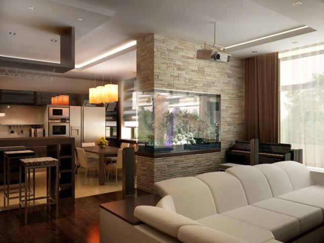Аквариум - отличный вариант отделить кухню от  гостиной