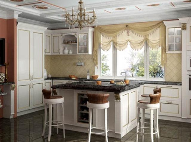 Барные стулья для классической белой кухни