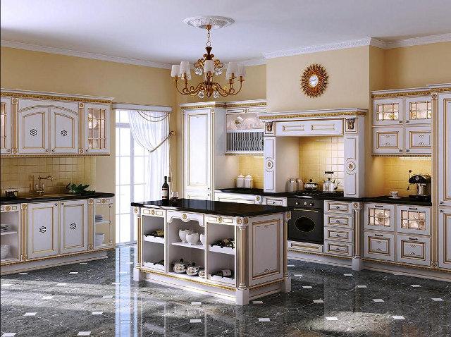Большой белый кухонный гарнитур с позолотой