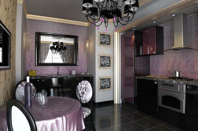 Классический интерьер кухни оформленной в стиле арт-деко