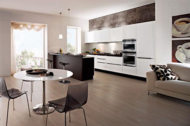 Кухня гостиная оформленная в современном стиле