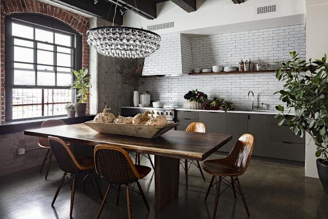 Дизайн кухни-столовой в лофт-стиле