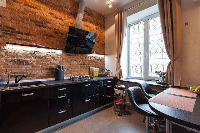 Стиль лофт в интерьер кухни городской квартиры
