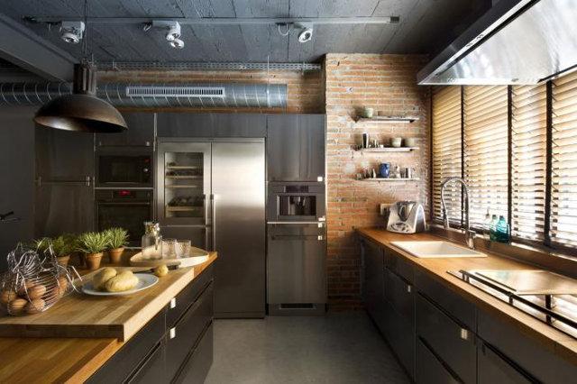 Классический вариант кухни в лофт-стиле