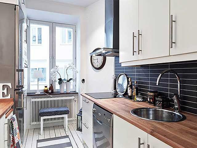 Скандинавский стиль - отличный вариант для кухни небольших размеров