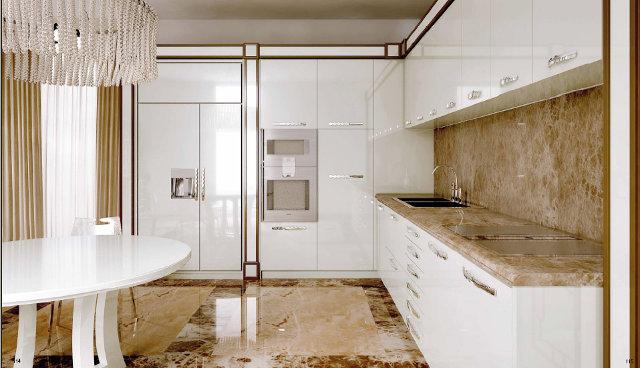 Роскошная белая кухня в стиле арт-деко