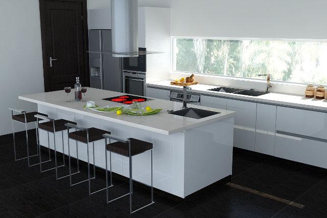 Белый гарнитур на кухне с черным полом