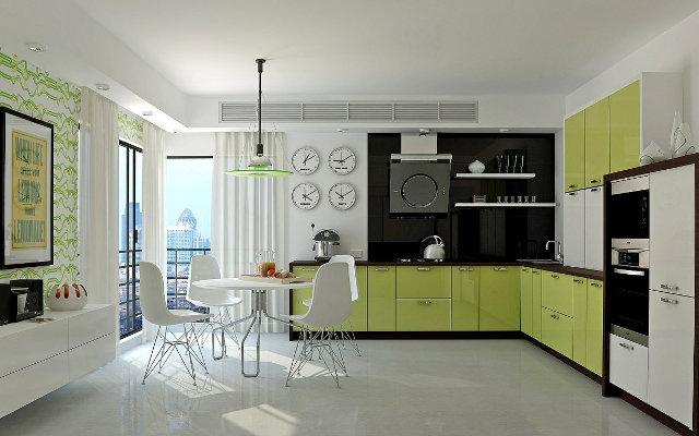 Современный интерьер с черно-зеленой кухней