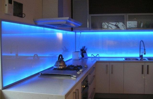 Awesome Blue Led Lighting Modern Kitchen Backsplash Ideas