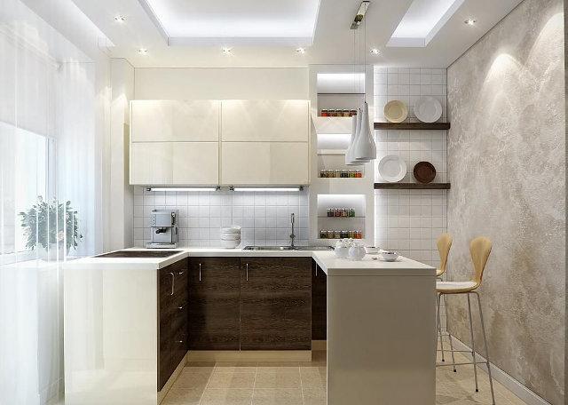 Дизайн-проект организации освещения на маленькой кухне