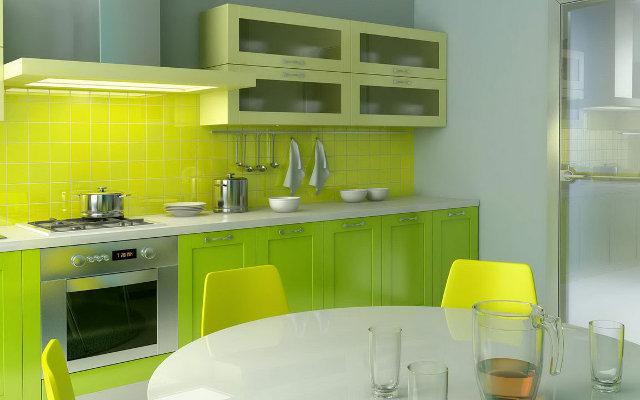 Проект зелено-желтой кухни