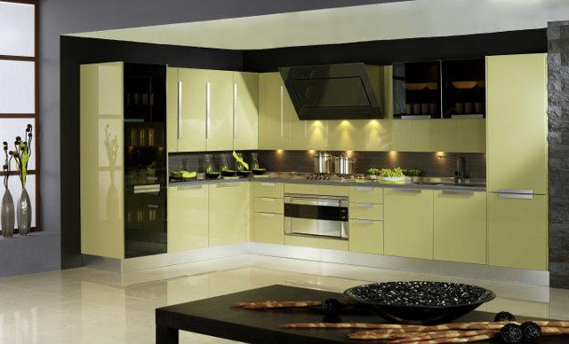 Фисташковая кухня в современном стиле