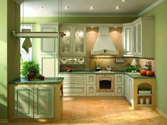 Дизайн классической фисташковой кухни