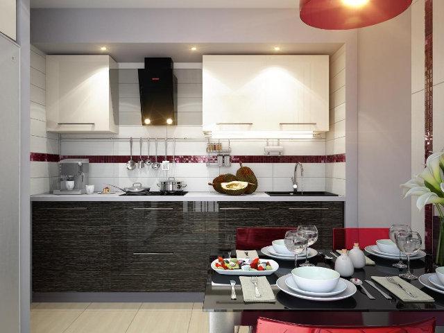 Интерьер маленькой, уютной кухни в черно-белых тонах