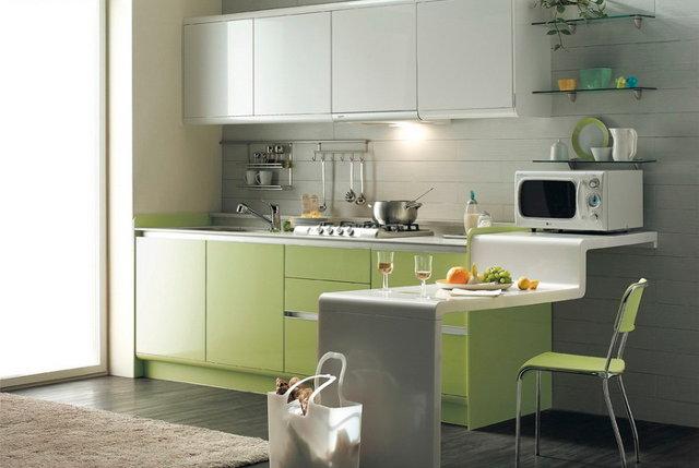 Сочетание светло-фисташкового цвета с белым в дизайне кухни