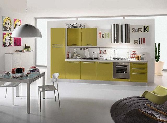 Кухня-гостиная с гарнитуром оливкового цвета