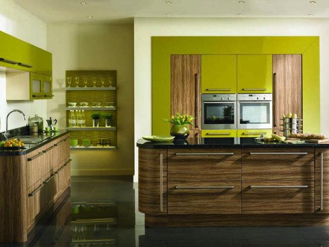 Кухня оливковая с зебрано