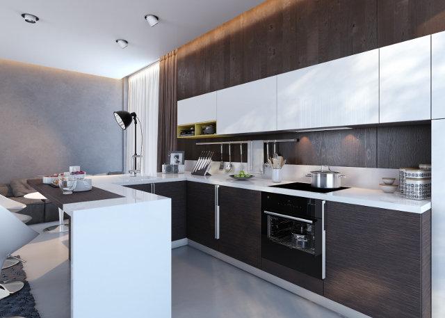 Кухонный гарнитур венге с белым