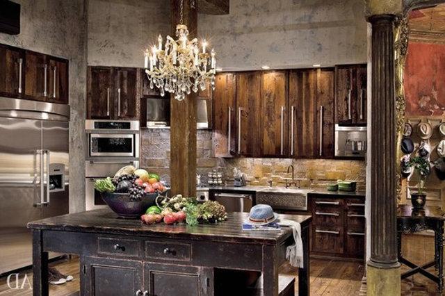Люстра на кухне в кантри-стиле