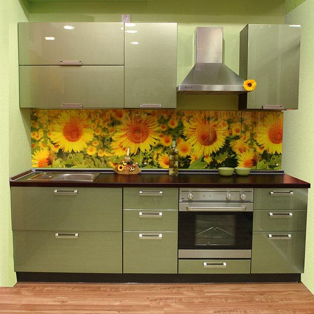 Маленькая оливковая кухня с глянцевыми фасадами