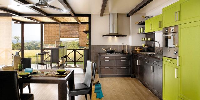 Сочетание цвета венге с зеленым в интерьере кухни