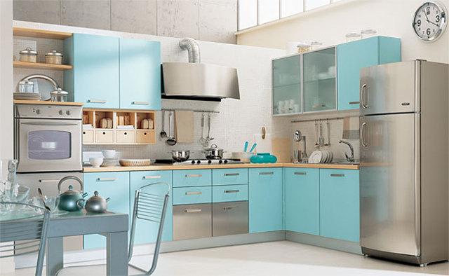 Угловая кухня цвета бирюзы
