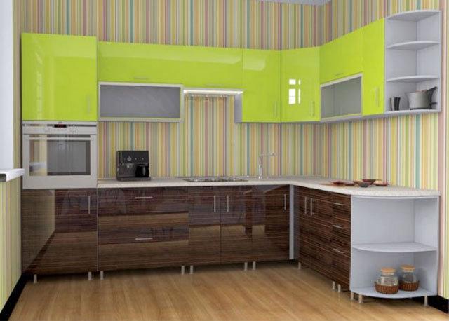 Угловая кухня с глянцевыми фасадами лайм с зебрано