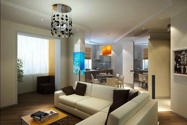 Дизайн кухни-столовой-гостиной в современном стиле
