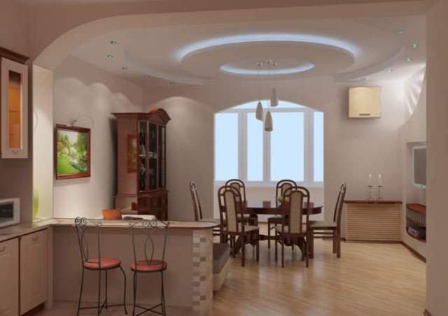 Дизайн-проект небольшой кухни-столовой совмещенной с гостиной