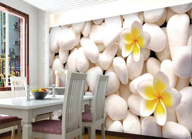 D фотообои с цветами возле кухонного стола