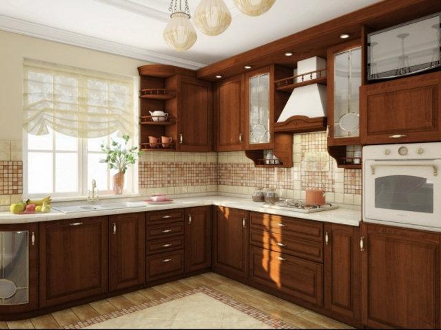 Угловой классический гарнитур в интерьере кухни частного дома