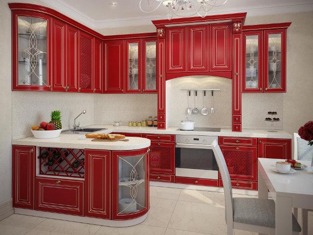 Радиусные фасады отлично подходят и для классической кухни