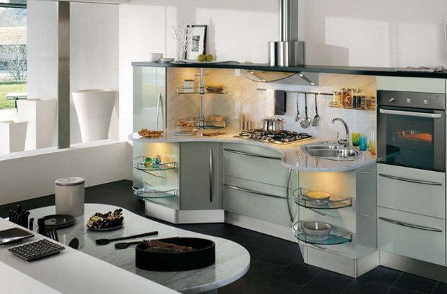 Радиусные кухни очень удобны и функциональны