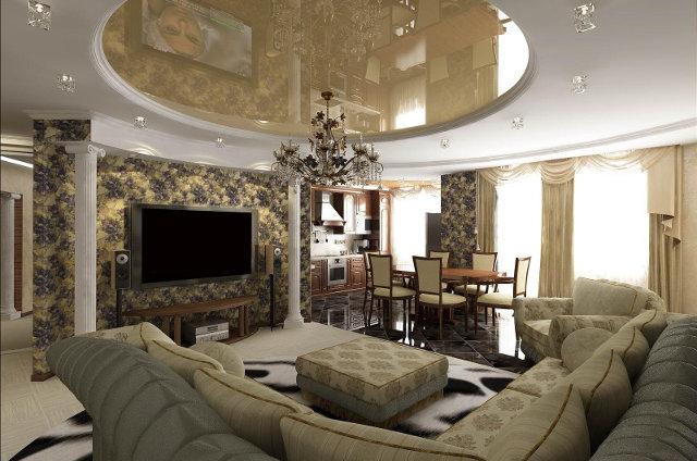Интерьер гостиной с кухней-столовой в большой квартире