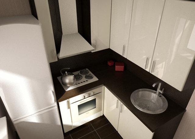 Интерьер угловой малогабаритной кухня с холодильником