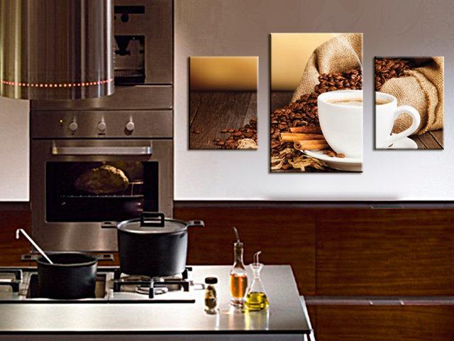 Красивая модульная картина с кофейной чашкой