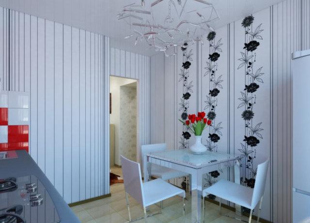 Выделение зоны около стола с помощью вертикального комбинирования обоев