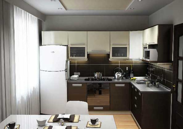 Современный интерьер маленькой кухни с угловым гарнитуром